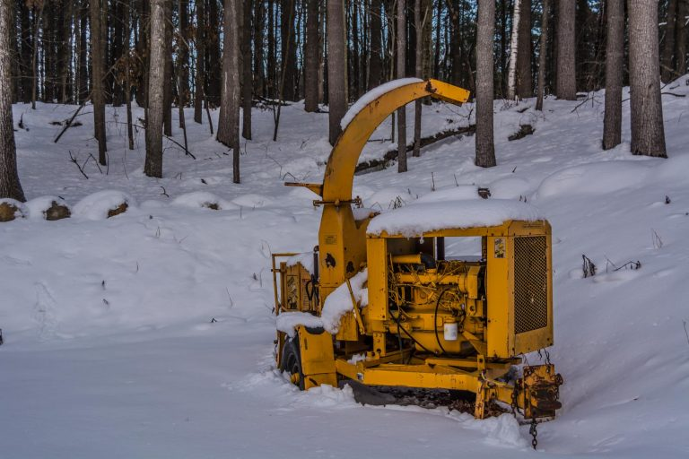 Abandoned Wood Chipper In The Winter
